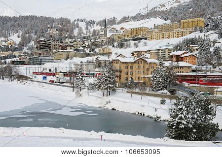 View to the railway station and buildings of St. Moritz, Switzerland.