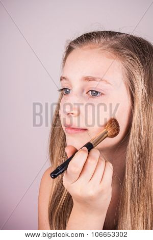 Portrait Of Beautiful Blond Girl, Makeup