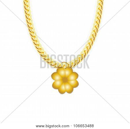 Gold Chain Jewelry whith Four-leaf Clover. Vector Illustration.