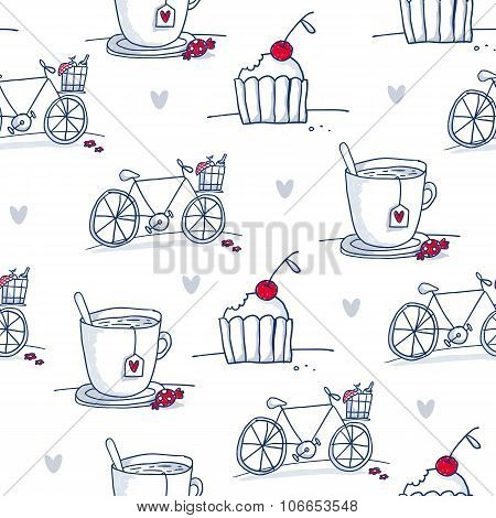 Sketch Cups, Bicycles And Cupcakes, Vector Seamless Pattern
