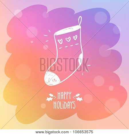 Sketchy Sock For Gifts On Misted Window Glass With Bokeh And Holiday Greetings
