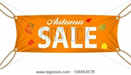 Textile banners with Autumn Sale Text Suspended by Ropes by all