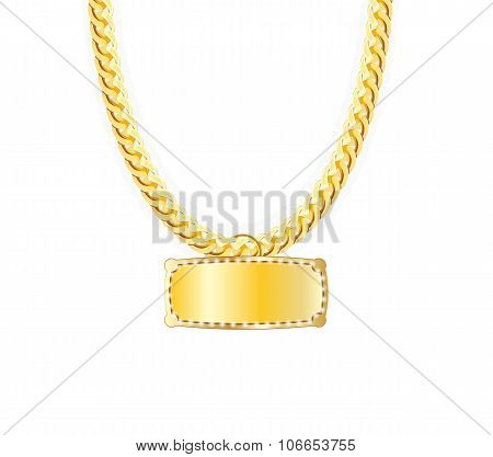 Gold Chain Jewelry Whith Gold Pendants. Vector Illustration.
