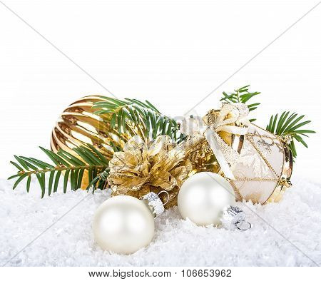 Golden Christmas Decoration On Snow Background