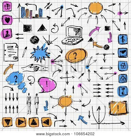 Doodle Design Elements Set, line art with colored spots