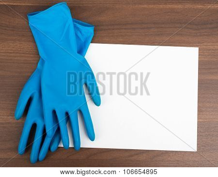 Blank paper with rubber gloves