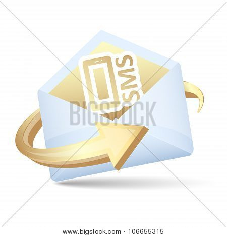 Open Envelope Vector Icon With Arrow And Send Sms Concept.