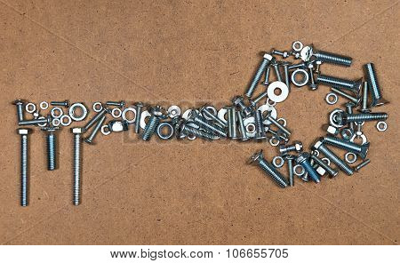 Key from bolts and nuts