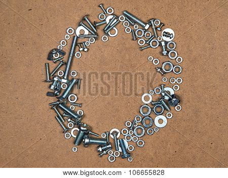 Circle from bolts and nuts