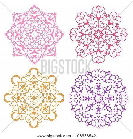 Set Of Four Warm Color Lacy Mandalas