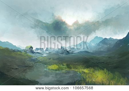 Village Near Mountains Under Cloudy Sky