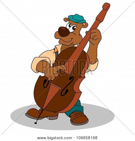 Musician Funny Bear Plays Double Bass