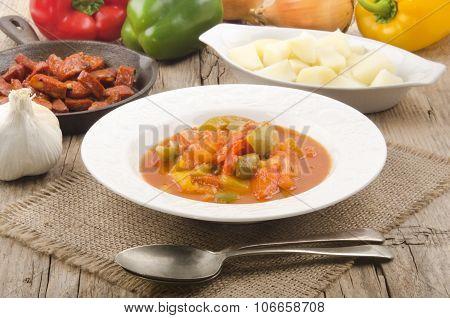 Hungarian Letcho With Potato And Kolbasz