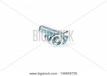 Isolated photo of bolt and nuts on white