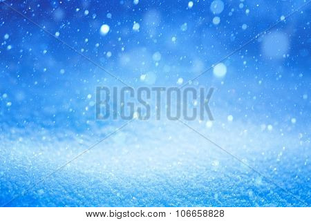 Christmas Winter Landscape With Falling Snow