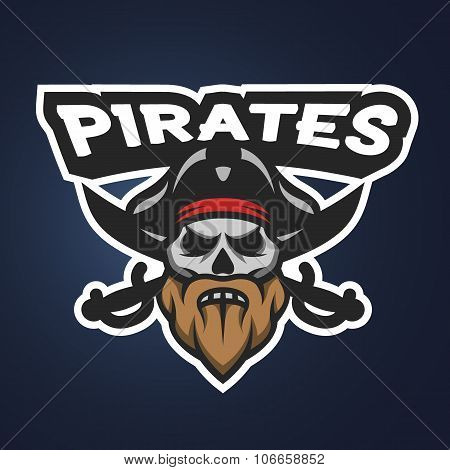 Pirate captain skull. Sport emblem.