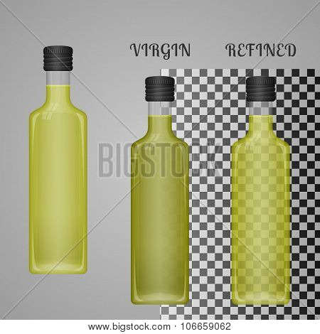 Realistic Olive Oil Bottle Mockup With Transparent Glass And Liq