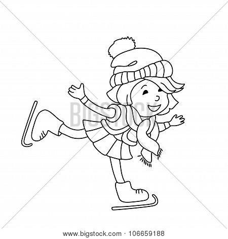 Girl Skating On Ice.