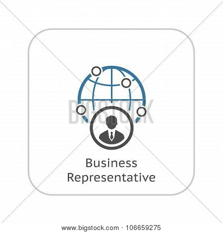 Business Representative Icon. Flat Design.
