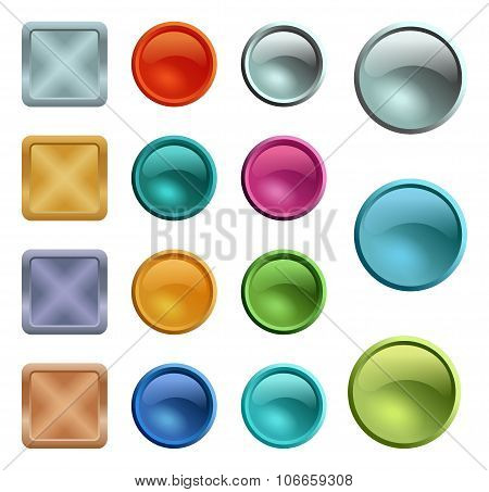 Colored Blank Buttons Template With Metal Texture
