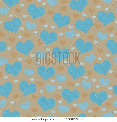 Teal And Brown Hearts Tile Pattern Repeat Background