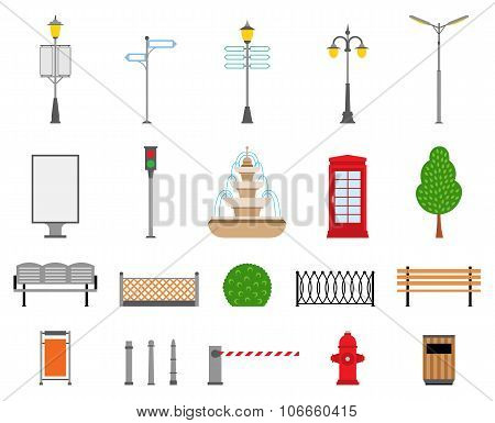 Vector City, Street, Park And Outdoor Elements Icons Set