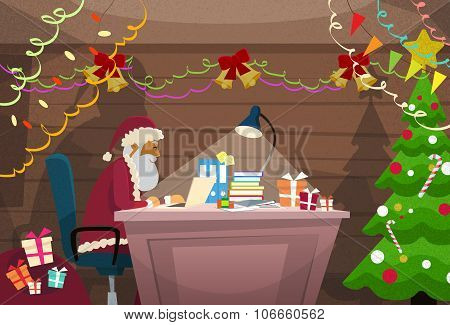 Santa Claus Using Laptop Sitting Desk Indoor Home