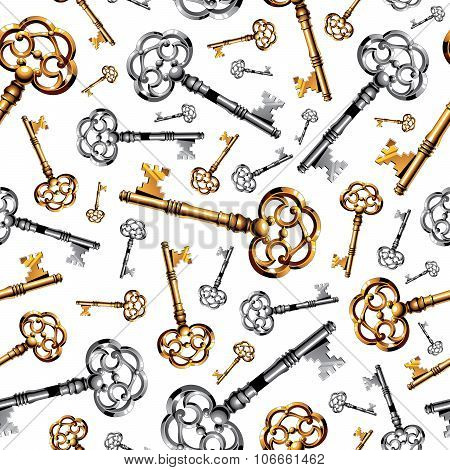 Gold and silver vintage keys on white background seamless pattern