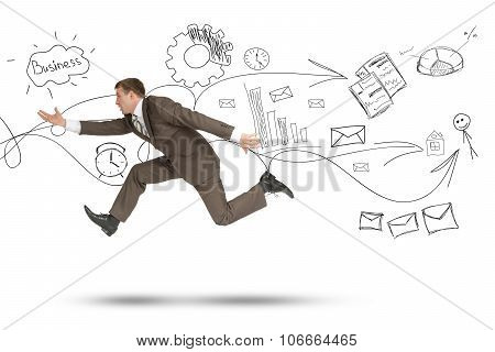 Man running fast with empty hand on white