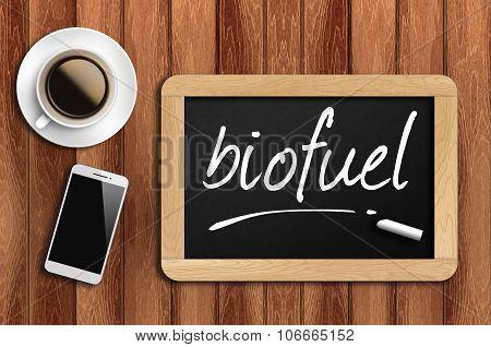 Coffee, Phone  And Chalkboard With  Word Biofuel