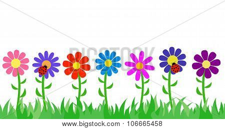 Seamless grass and flowers.