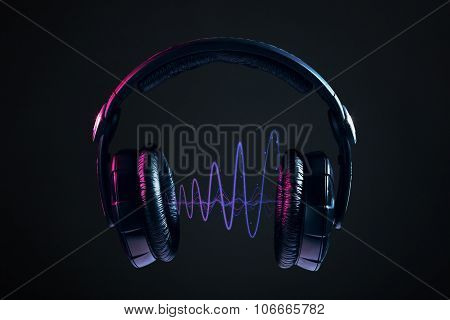 Headphones And Disco Waves Isolated On Black Background