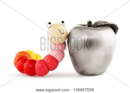 Wooden Baby Toys Worm And Apple Isolated On White