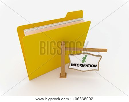 Yellow Folder With Wooden Signpost Information