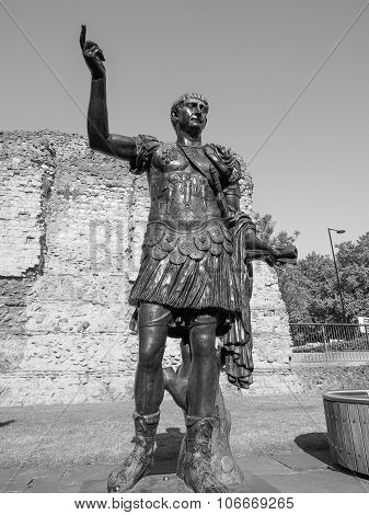 Black And White Trajan Statue In London