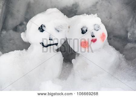 Snow man on the floor, winter season