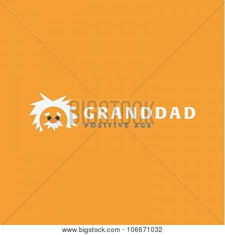 Logo grandfather Professor old man, white-haired cute icon vector illustration