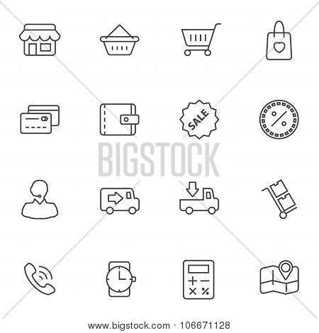 Market Shopping mall icons set, Vector line icon