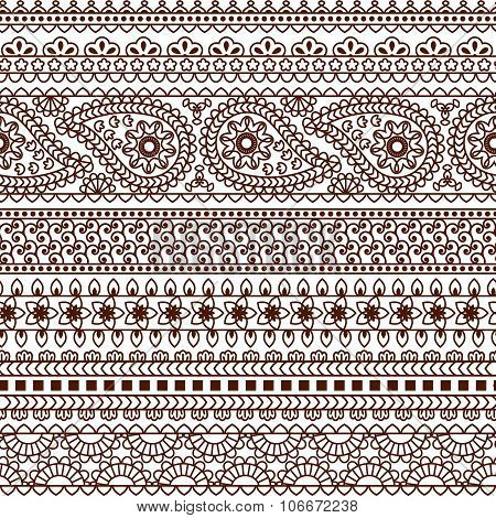 Set of Ornamental Seamless Borders in indian style. Good for decor, frames, henna tattoo, etc.