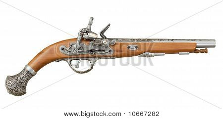 Pistola de pirataria antiga no fundo branco