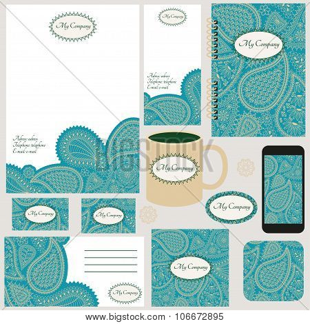 Corporate identity templates with with indian ornaments (paisley and flowers). Business stationery.