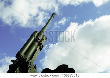 Anti-aircraft cannon Sky Background View