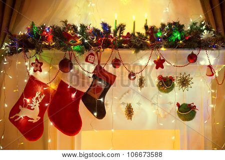 Christmas Family Hanging Socks, Xmas Lights Decoration, Tree Branches