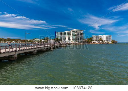 BRISBANE, AUS - NOV 1 2015: Fishing jetty at a Woody Point, Redcliffe, Queensland, Australia. Woody Point is a popular, recently renovated, residential suburb of Brisbane.
