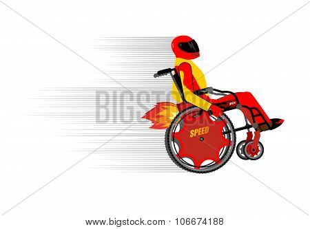 Disabled Person In Wheelchair Wit Turbo Engine. Speed Riding To Racing. People In Protective Helmet
