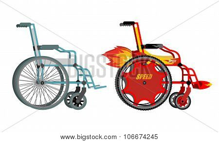 Standard And Custom Wheelchair. Armchair With Turbo Engine For High Speed. Turbine With Fire. Racing