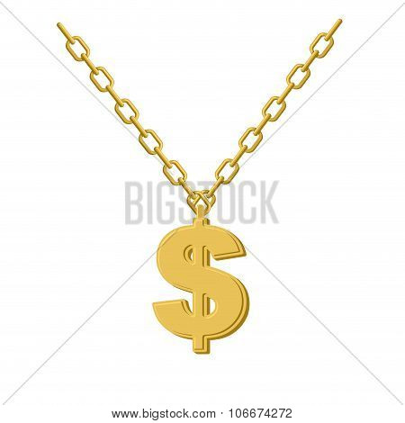 Gold Dollar On Chain. Decoration For Rap Artists. Accessory Of Precious Yellow Metal To Hip Hop Musi