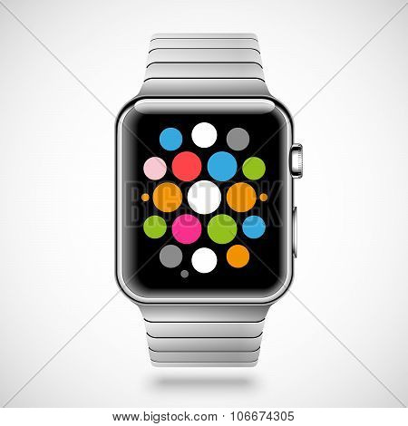 Modern shiny smart watch with steel bracelet and applications icons