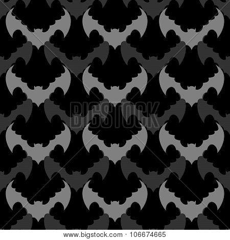 Bats Seamless Pattern. Background Of Flying Animals. Black Ornament From  Bloodsuckers And Vampires.