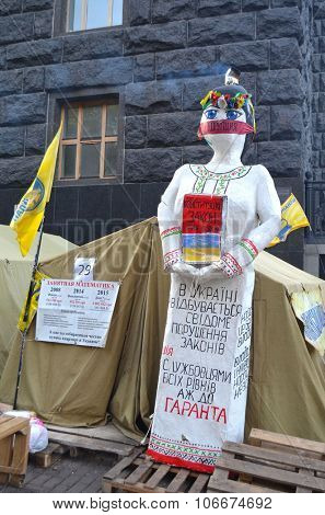 KIEV , UKRAINE - NOV 1, 2015. Protesters of Gay Party of Ukraine camp near Building of Government (Cabinet ministers of Ukraine). November 1, 2015 in Kiev, Ukraine